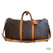Authentic Louis Vuitton Brown Monogram Canvas Leather Keepall Bandouliere 50 Bag