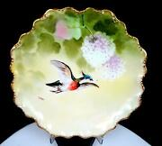 Coronet Limoges France T. Barin Signed Quail 9 1/2 Game Bird Plate 1906-1920