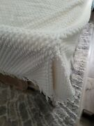 Vintage 1950s White Textured Chenille Twin Size Bedspread Blanket