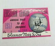 1957 Eastern League Of Professional Baseball Clubs Season Pass To All Grounds
