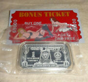 Lucky Ticket Good For One Free Ride 1 Oz Silver Enameled Art Bar Cmg Mint V2
