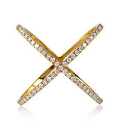 Christmas Gift 18k Solid Yellow Gold 0.5ct Pave Diamond Crossover Ring Jewelry