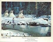 Vintage Christmas Native American Indian Blessing Snow Stream Art Greeting Card