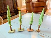4 Putz Wooden Trees Germany German Wood Antique Nativity Toys