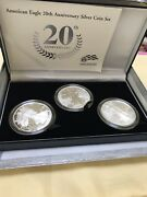 American Eagle 1 Oz. 3 Silver Bullion Coins Proof Reverse Proof Uncirculated.