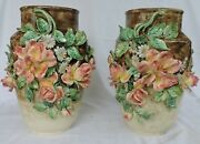 Monumental Pair Of Vases Longchamp French Majolica With Flowers