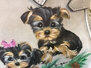 4 Yorkie Puppies And Pine Cones Hand Painted On Purse Organizer