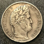 1847 Silver Coin 5 Francs - France - Louis Philippe - Vf Condition