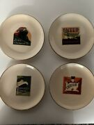 Set Of 4 Pottery Barn Vintage Travel Poster Plates -never Used -
