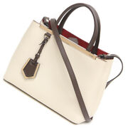 Pre-owned Fendi 8bh253 Petit 2jours 2way Handbag Beige Leather Free Shipping