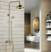 Gold Shower Faucet Tap 8-inch Rain Shower Head With Handshower Set Tub Mixer Tap