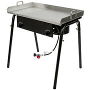 Double Burner Outdoor Propane Range With 30 Inch Griddle Plate - 150,000 Btu