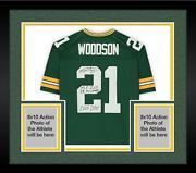 Frmd Charles Woodson Green Bay Packers Signed Green Rep Jersey And Inscs - Le 21