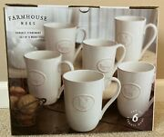 Farmhouse 6-pack Stoneware Mugs With Antique Finish In Cream