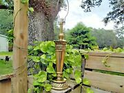 Vintage Mid Century Stiffel Solid Brass Feather And Scroll Torchiere Table Lamp