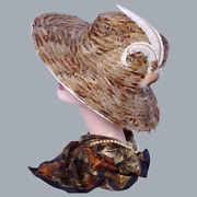 Authentic Jack Mcconnell 1970s Brown Feather Hat Red Feather One Of A Kind