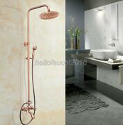 Red Copper Shower Faucet 8-inch Rain Shower Head And Handshower Set Tub Mixer Tap