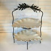 Dept 56 Time To Celebrate 2 Tiered Oak Leaf Plates W/stand - Farmhouse - New