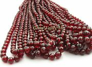Natural Red Mozambique Garnet Ball Shape Faceted Beads. 10 Strands. Gv-1070