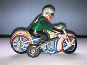 Vintage Tin Litho Motorcycle Ms-702 1960's Made In China Wind Up Works Great