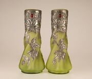 French Art Nouveau Cases Glass Paste Pewter Jewelled Vases Art Glass Pate Verre