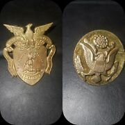 Vintage Fork Union Military Academy Va Hat Cap Pin And Wwii Us Army Hat Badge