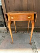 Antique Drop-leaf Table With Drawer And Animal Feet