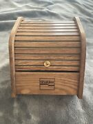Vintage Shaklee Wood Roll Top Library Index Recipe Card File Box W/ Index Cards