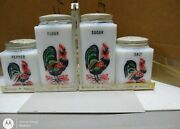 Vintage Tipp City Fired On Rooster 4 Pc Shakers And Rack Flour Sugar Salt Pepper