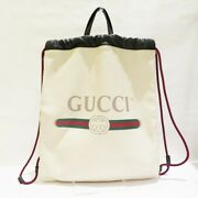 Pre-owned 516639 Sherry Drawstring Ivory Leather Free Shipping