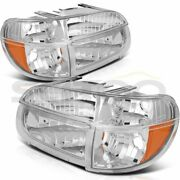 Headlights Fits 1995-2001 Ford Explorer Lamps Assembly Chrome Housing Left+right