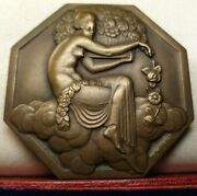 1925 Rare Classic French Art Deco Exposition 60mm Medal Plaque By Turin Nude