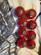 Set Of 8 Vintage Kugel Style Red Mercury Glass Crackled Christmas Ball Ornament