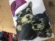 Two Yorkie Puppies Playing Original Painting By Monique