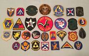 Vintage Mixed Lot Of 30 Military Patches Us Army Navy Airborne Insignia And More