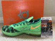Nike Kd 6 Easter Autographed Kevin Durant Shoes 599424-303 9.5 Jsa Authenticated