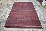 Terrific Antique Large Tribal Kilim 84and039and039 X 143and039and039 Turkoman Flat Woven Kilim Rug