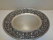 Wilton Armetale Pewter William And Mary Large Oval Platter-tray 20 X 16