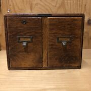 Antique Library Bureau Sole Makers Wooden 2 Drawer File Box Large