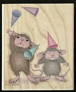My Hats Onto You Party Celebrate House Mouse Stampabilities Wood Rubber Stamp