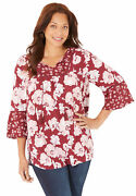 Catherines Women's Plus Size Petite Twin-print Georgette Peasant Blouse
