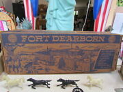Vintage 1950's Marx Tin Lithograph Fort Dearborn Play Set Complete In Ob