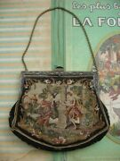 Antique Womenand039s Handbag / Purse Figurine And Floral Muses