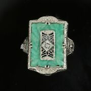 1920and039s Art Deco Diamond And Jade Filigree Antique Ring 14k White Gold