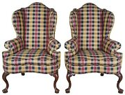 2 Vintage Plaid Queen Anne Wingback Library Club Accent Arm Chairs Robert Allen