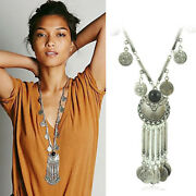 Ethnic Tribal Boho Beaded Coin Fringed Necklace Belly Dance