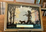 Vintage Silhouette Thermometer Advertising Picture With Boy And Dog Fishing