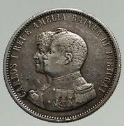 1898 Portugal King Carlos I Vintage Old Silver 1000 Reis Portuguese Coin I93390