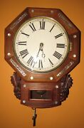 Antique English Single Fusee Time Piece Wall Clock 8-day
