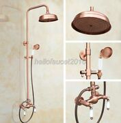 Red Copper Shower Faucet Tap 8-inch Rain Shower Head And Handshower Set Mixer Tap